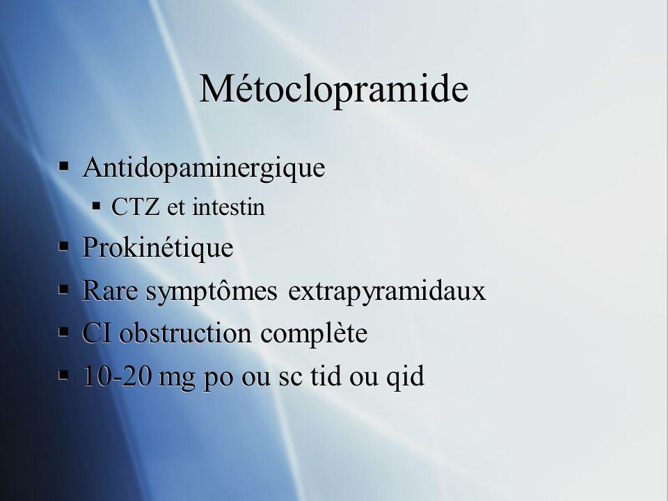 Métoclopramide Antidopaminergique CTZ et intestin Prokinétique Rare symptômes extrapyramidaux CI obstruction complète 10-20 mg po ou sc tid ou qid Ant