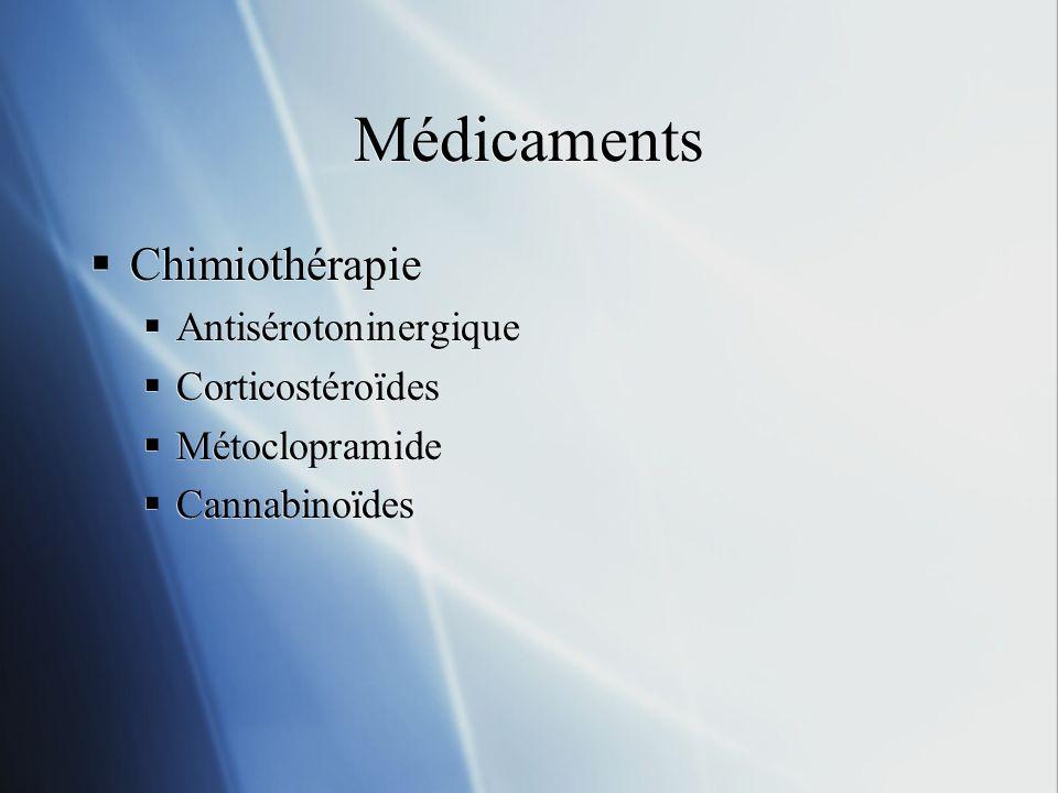 Médicaments Chimiothérapie Antisérotoninergique Corticostéroïdes Métoclopramide Cannabinoïdes Chimiothérapie Antisérotoninergique Corticostéroïdes Mét