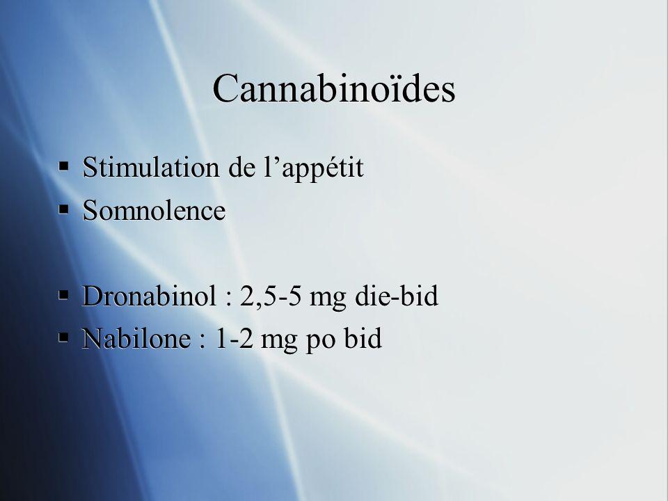 Cannabinoïdes Stimulation de lappétit Somnolence Dronabinol : 2,5-5 mg die-bid Nabilone : 1-2 mg po bid Stimulation de lappétit Somnolence Dronabinol