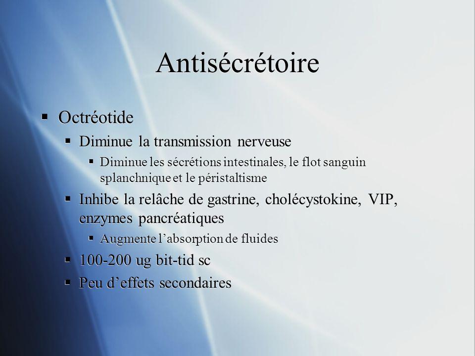 Antisécrétoire Octréotide Diminue la transmission nerveuse Diminue les sécrétions intestinales, le flot sanguin splanchnique et le péristaltisme Inhib