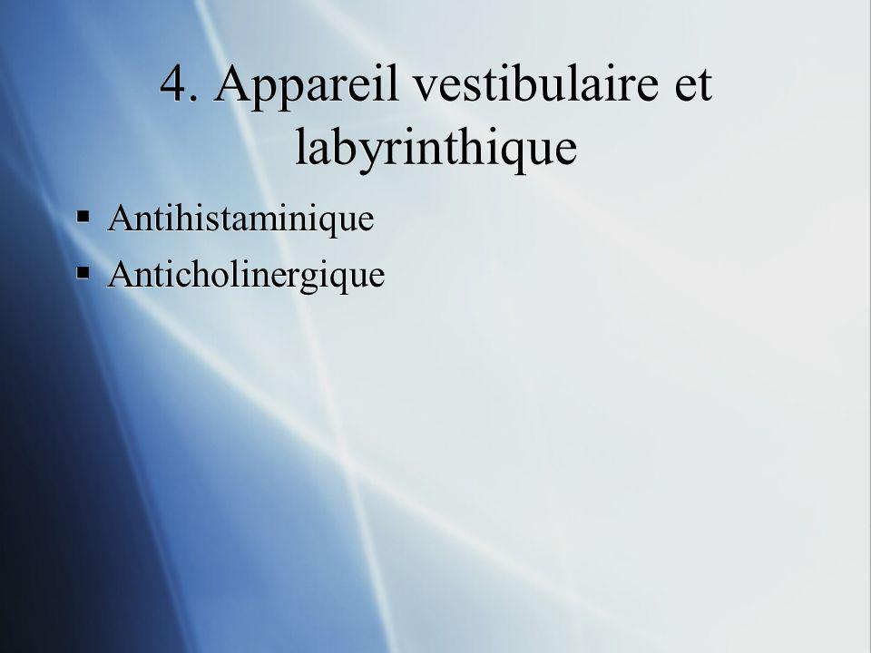 4. Appareil vestibulaire et labyrinthique Antihistaminique Anticholinergique Antihistaminique Anticholinergique