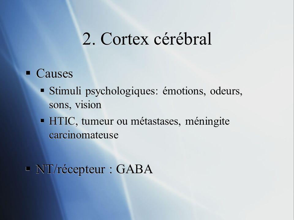 2. Cortex cérébral Causes Stimuli psychologiques: émotions, odeurs, sons, vision HTIC, tumeur ou métastases, méningite carcinomateuse NT/récepteur : G