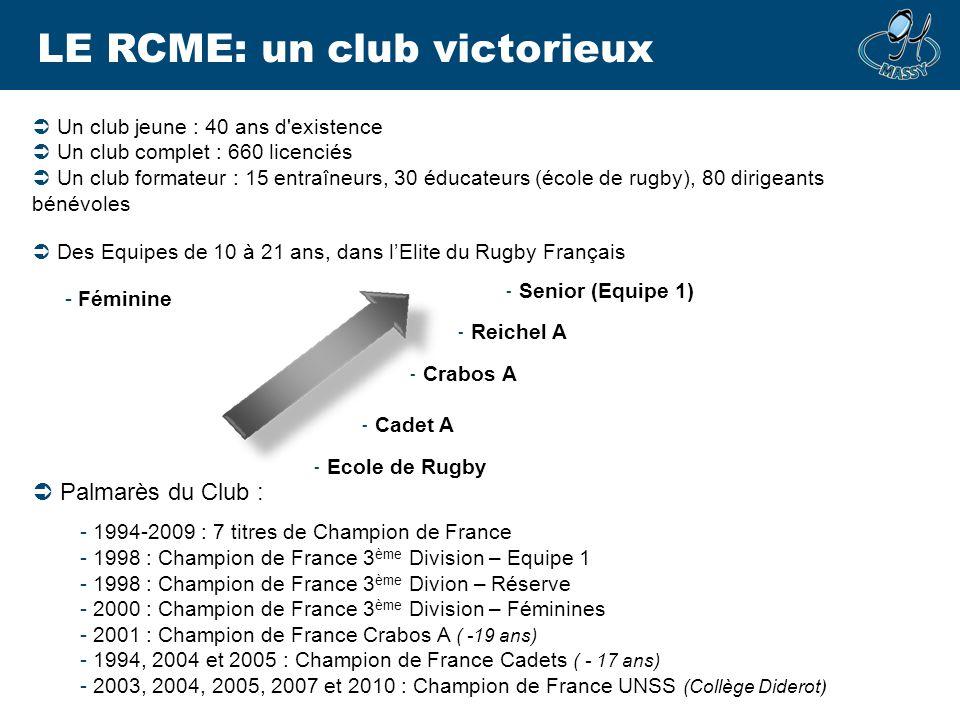 LE RCME: un club victorieux Un club jeune : 40 ans d'existence Un club complet : 660 licenciés Un club formateur : 15 entraîneurs, 30 éducateurs (écol