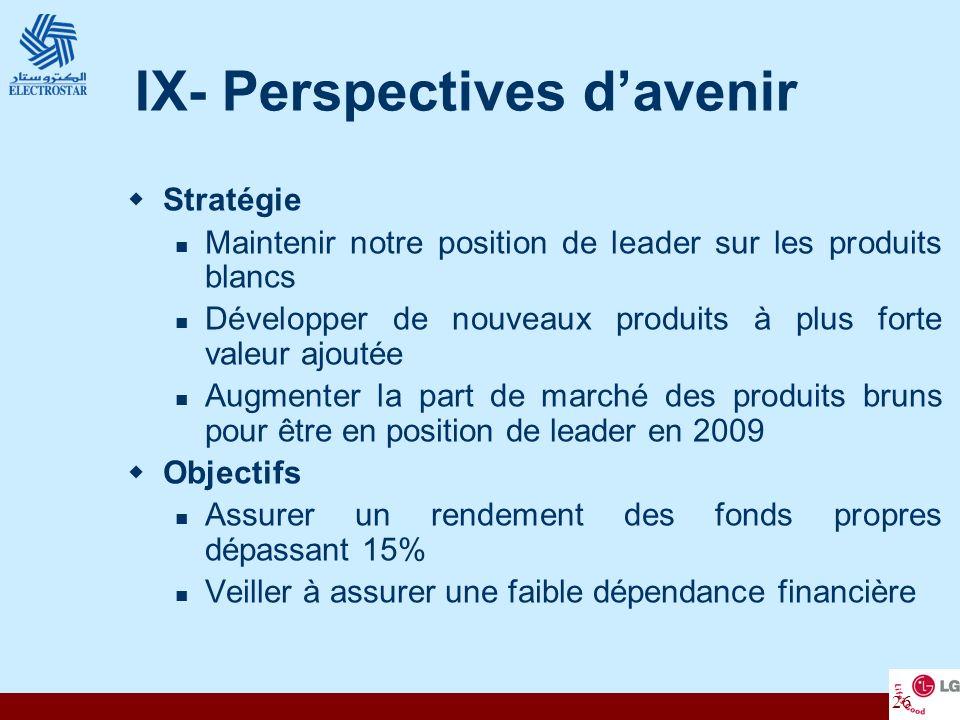26 IX- Perspectives davenir Stratégie Maintenir notre position de leader sur les produits blancs Développer de nouveaux produits à plus forte valeur a