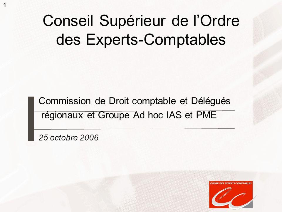 1 Conseil Supérieur de lOrdre des Experts-Comptables Commission de Droit comptable et Délégués régionaux et Groupe Ad hoc IAS et PME 25 octobre 2006