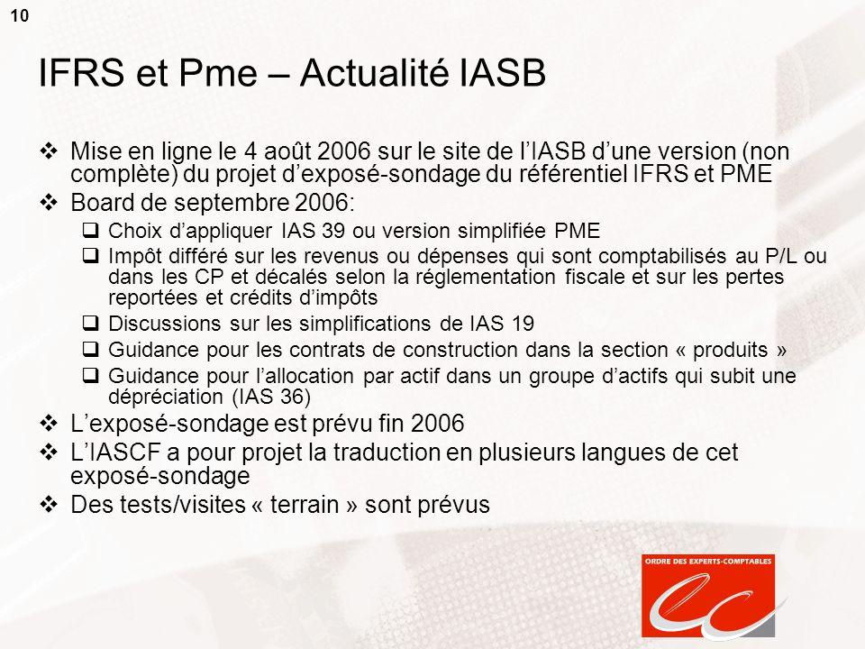 10 IFRS et Pme – Actualité IASB Mise en ligne le 4 août 2006 sur le site de lIASB dune version (non complète) du projet dexposé-sondage du référentiel