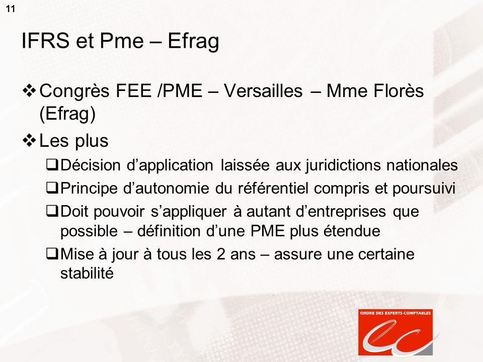 11 IFRS et Pme – Efrag Congrès FEE /PME – Versailles – Mme Florès (Efrag) Les plus Décision dapplication laissée aux juridictions nationales Principe