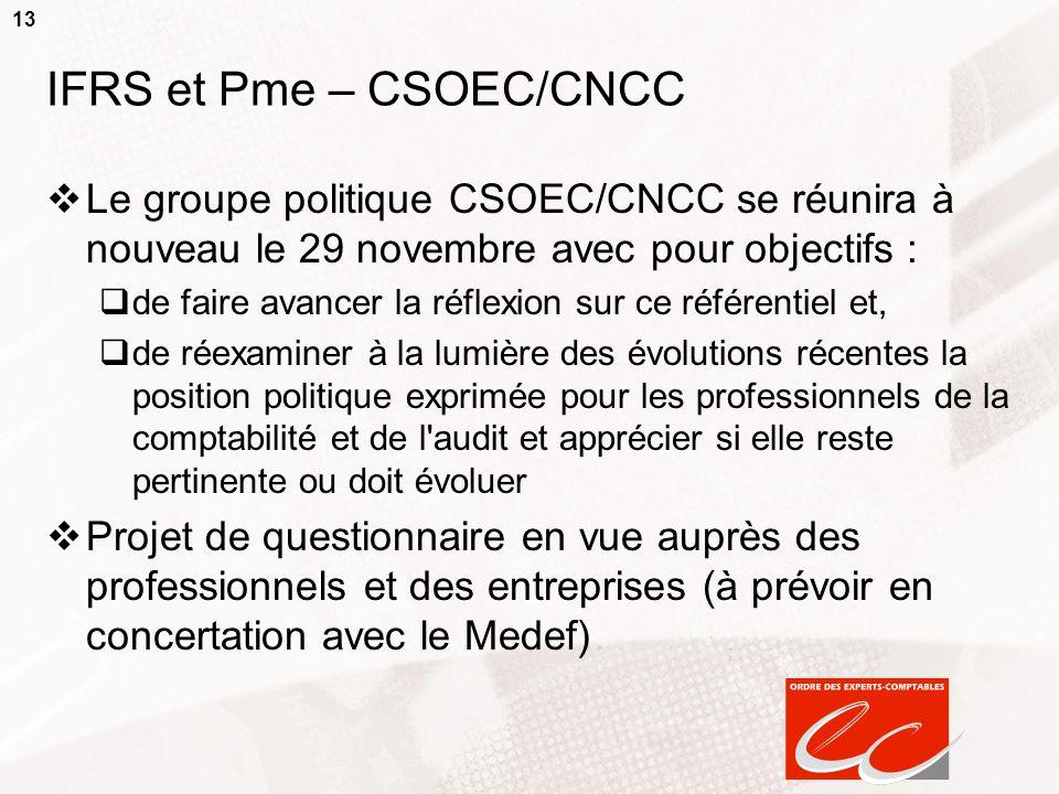 13 IFRS et Pme – CSOEC/CNCC Le groupe politique CSOEC/CNCC se réunira à nouveau le 29 novembre avec pour objectifs : de faire avancer la réflexion sur