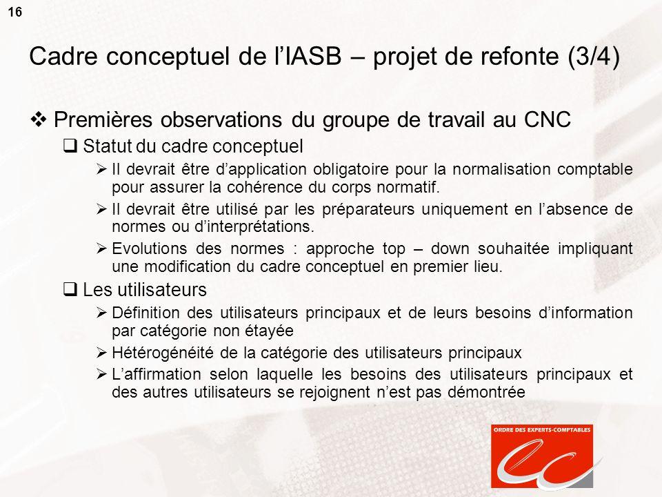 16 Cadre conceptuel de lIASB – projet de refonte (3/4) Premières observations du groupe de travail au CNC Statut du cadre conceptuel Il devrait être d