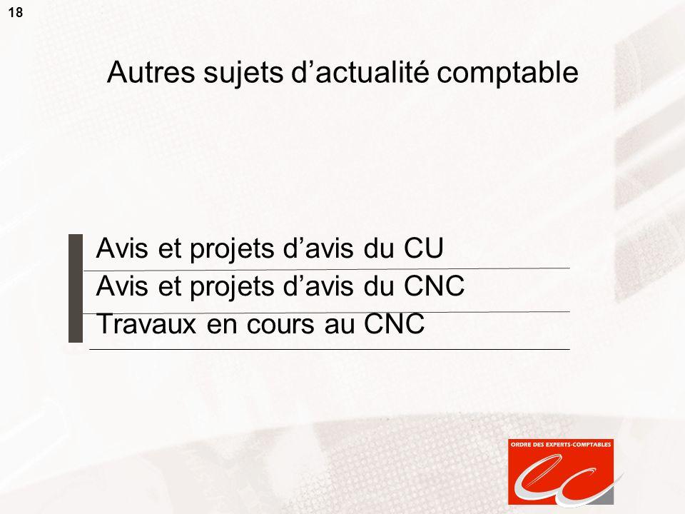 18 Autres sujets dactualité comptable Avis et projets davis du CU Avis et projets davis du CNC Travaux en cours au CNC