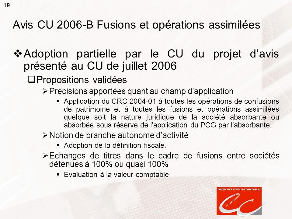 19 Avis CU 2006-B Fusions et opérations assimilées Adoption partielle par le CU du projet davis présenté au CU de juillet 2006 Propositions validées P