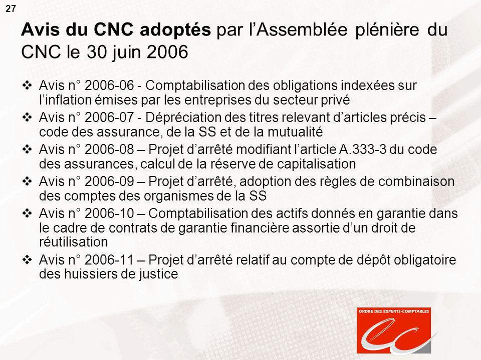 27 Avis du CNC adoptés par lAssemblée plénière du CNC le 30 juin 2006 Avis n° 2006-06 - Comptabilisation des obligations indexées sur linflation émise
