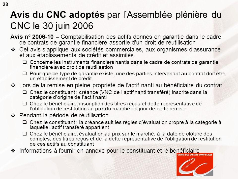 28 Avis du CNC adoptés par lAssemblée plénière du CNC le 30 juin 2006 Avis n° 2006-10 – Comptabilisation des actifs donnés en garantie dans le cadre d