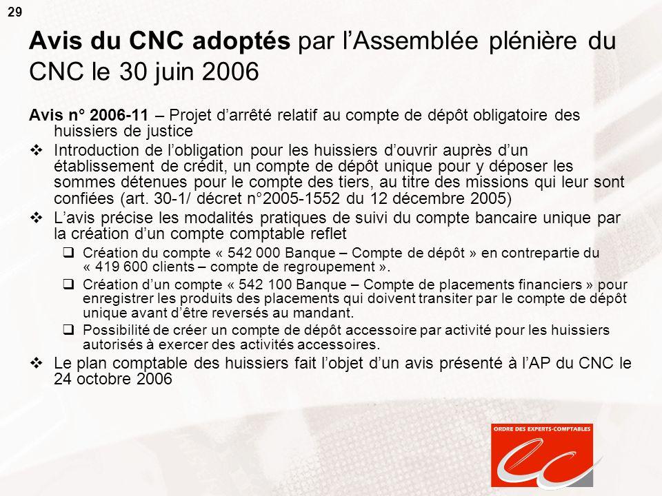 29 Avis du CNC adoptés par lAssemblée plénière du CNC le 30 juin 2006 Avis n° 2006-11 – Projet darrêté relatif au compte de dépôt obligatoire des huis