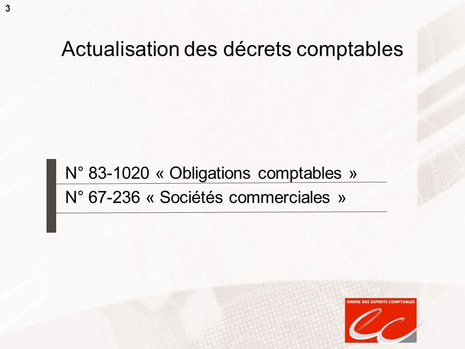 3 Actualisation des décrets comptables N° 83-1020 « Obligations comptables » N° 67-236 « Sociétés commerciales »