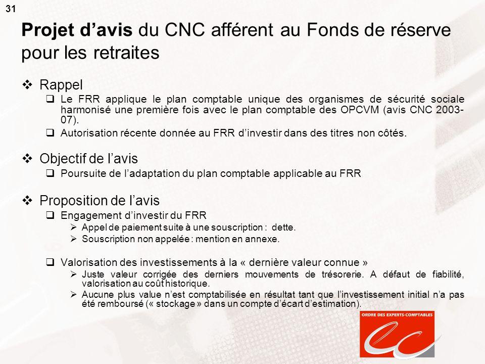 31 Projet davis du CNC afférent au Fonds de réserve pour les retraites Rappel Le FRR applique le plan comptable unique des organismes de sécurité soci