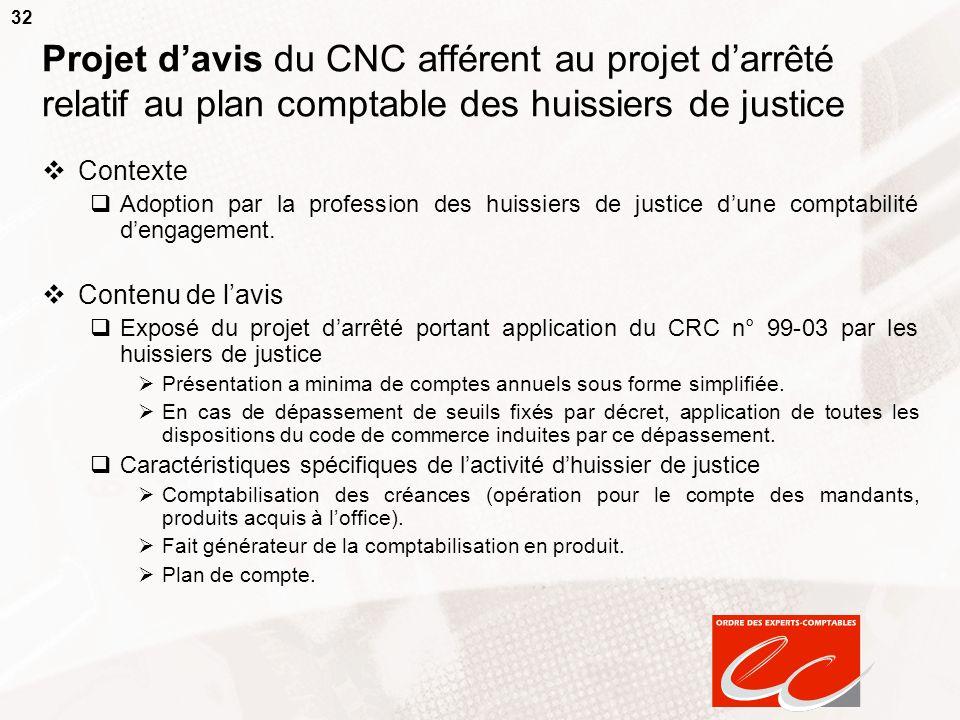 32 Projet davis du CNC afférent au projet darrêté relatif au plan comptable des huissiers de justice Contexte Adoption par la profession des huissiers