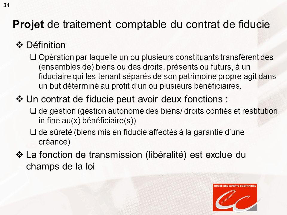 34 Projet de traitement comptable du contrat de fiducie Définition Opération par laquelle un ou plusieurs constituants transfèrent des (ensembles de)