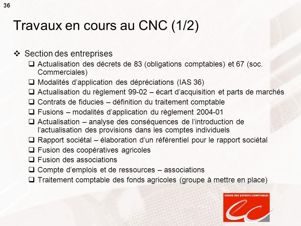 36 Travaux en cours au CNC (1/2) Section des entreprises Actualisation des décrets de 83 (obligations comptables) et 67 (soc. Commerciales) Modalités