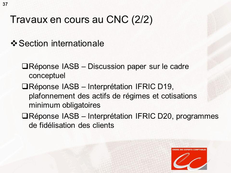 37 Travaux en cours au CNC (2/2) Section internationale Réponse IASB – Discussion paper sur le cadre conceptuel Réponse IASB – Interprétation IFRIC D1