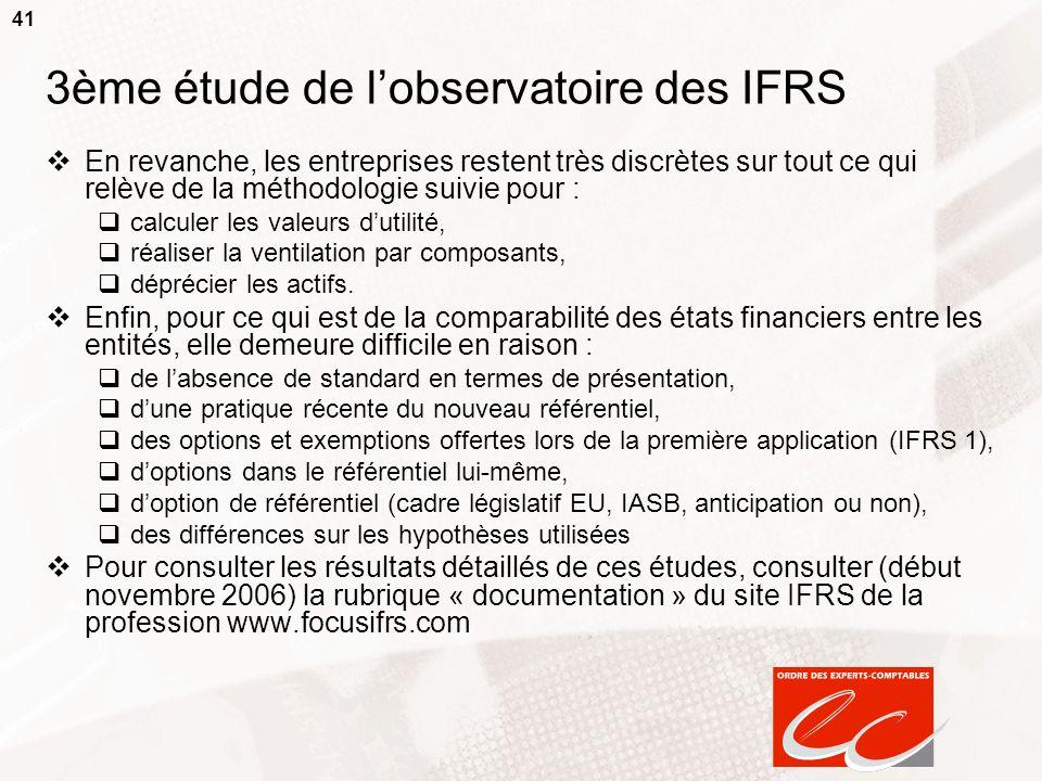 41 3ème étude de lobservatoire des IFRS En revanche, les entreprises restent très discrètes sur tout ce qui relève de la méthodologie suivie pour : ca
