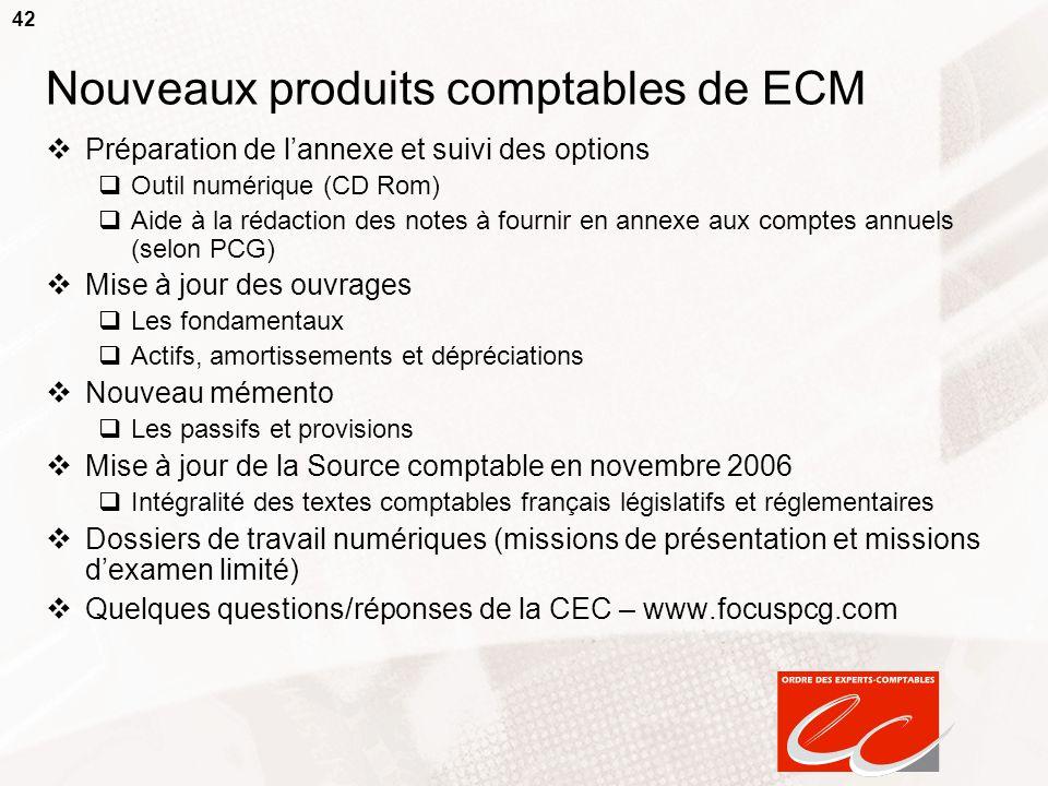 42 Nouveaux produits comptables de ECM Préparation de lannexe et suivi des options Outil numérique (CD Rom) Aide à la rédaction des notes à fournir en