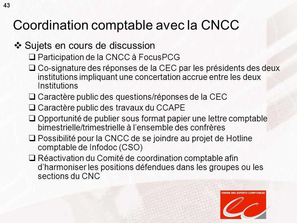 43 Coordination comptable avec la CNCC Sujets en cours de discussion Participation de la CNCC à FocusPCG Co-signature des réponses de la CEC par les p