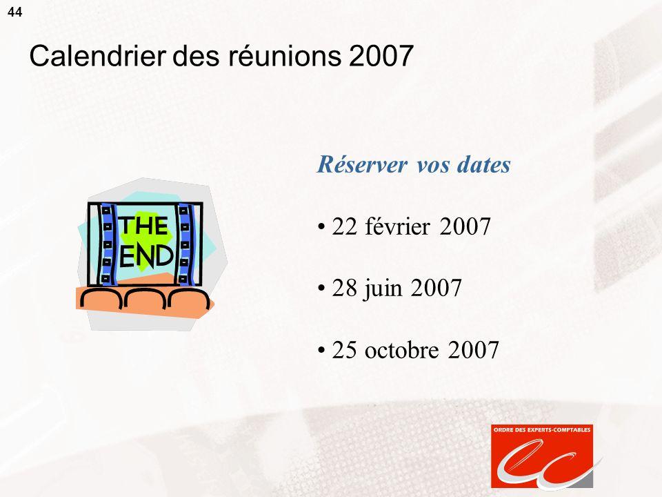 44 Calendrier des réunions 2007 Réserver vos dates 22 février 2007 28 juin 2007 25 octobre 2007