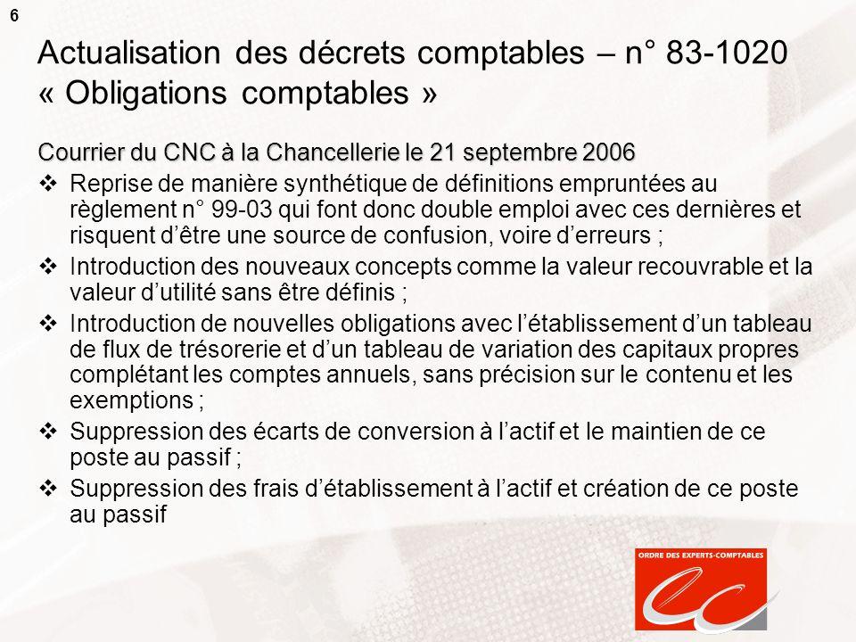 6 Actualisation des décrets comptables – n° 83-1020 « Obligations comptables » Courrier du CNC à la Chancellerie le 21 septembre 2006 Reprise de maniè