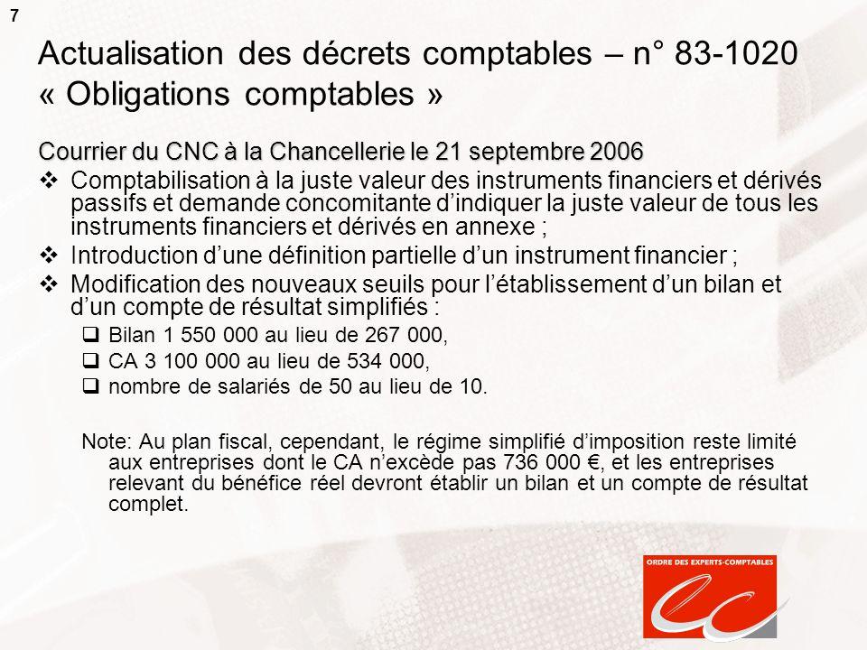 7 Actualisation des décrets comptables – n° 83-1020 « Obligations comptables » Courrier du CNC à la Chancellerie le 21 septembre 2006 Comptabilisation