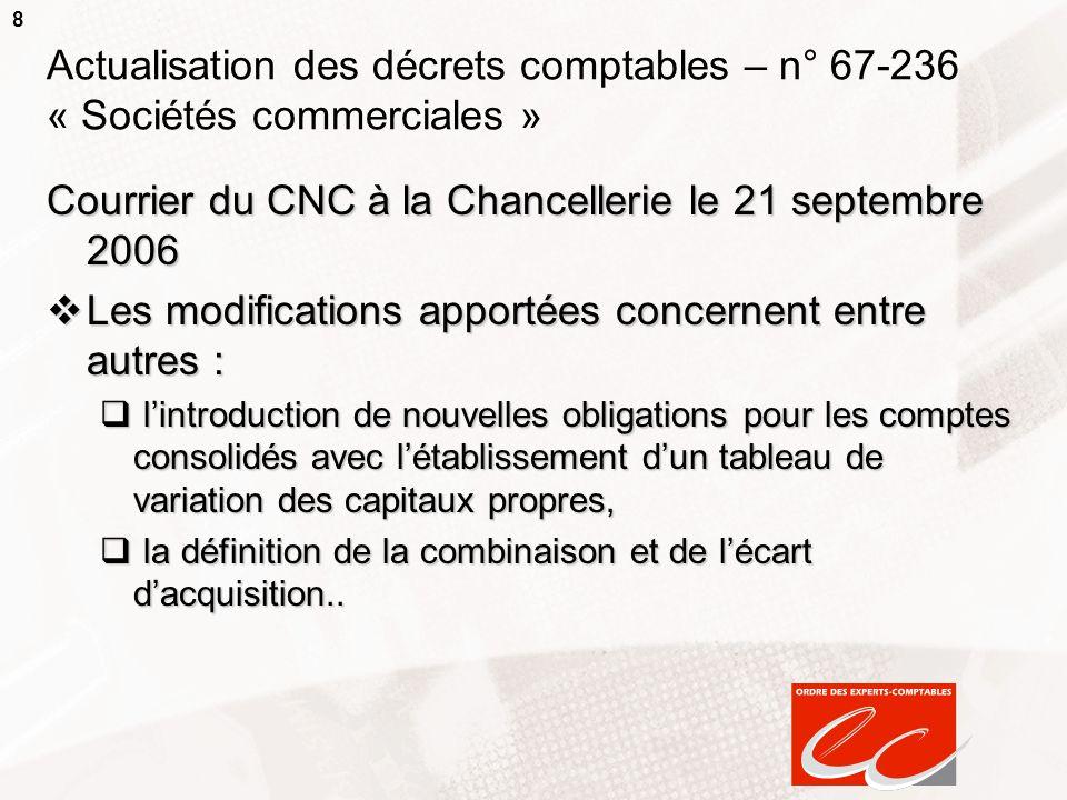 8 Actualisation des décrets comptables – n° 67-236 « Sociétés commerciales » Courrier du CNC à la Chancellerie le 21 septembre 2006 Les modifications
