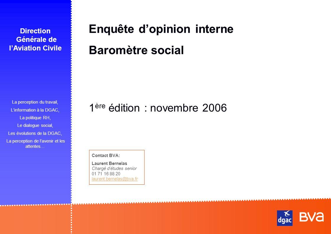 Enquête dopinion interne Baromètre social La perception du travail, Linformation à la DGAC, La politique RH, Le dialogue social, Les évolutions de la