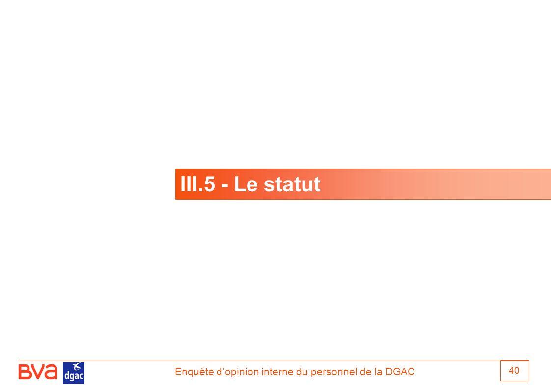 Enquête dopinion interne du personnel de la DGAC 40 III.5 - Le statut