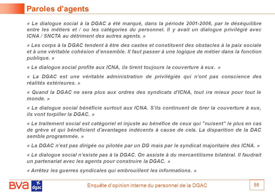 Enquête dopinion interne du personnel de la DGAC 56 Paroles dagents « Le dialogue social à la DGAC a été marqué, dans la période 2001-2006, par le dés