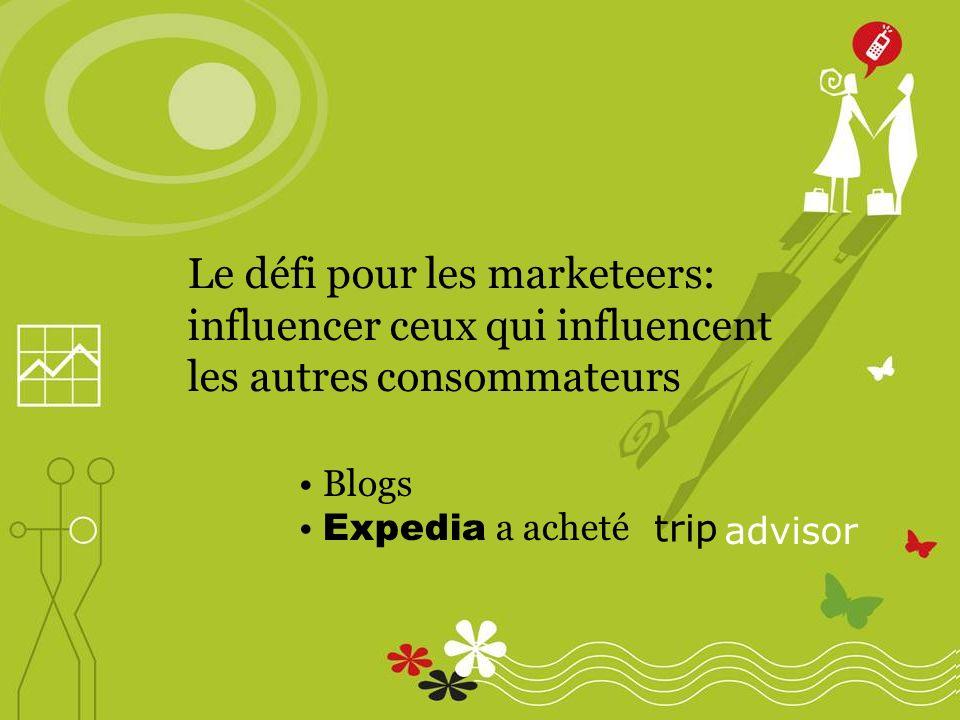 Le défi pour les marketeers: influencer ceux qui influencent les autres consommateurs Blogs Expedia a acheté trip advisor