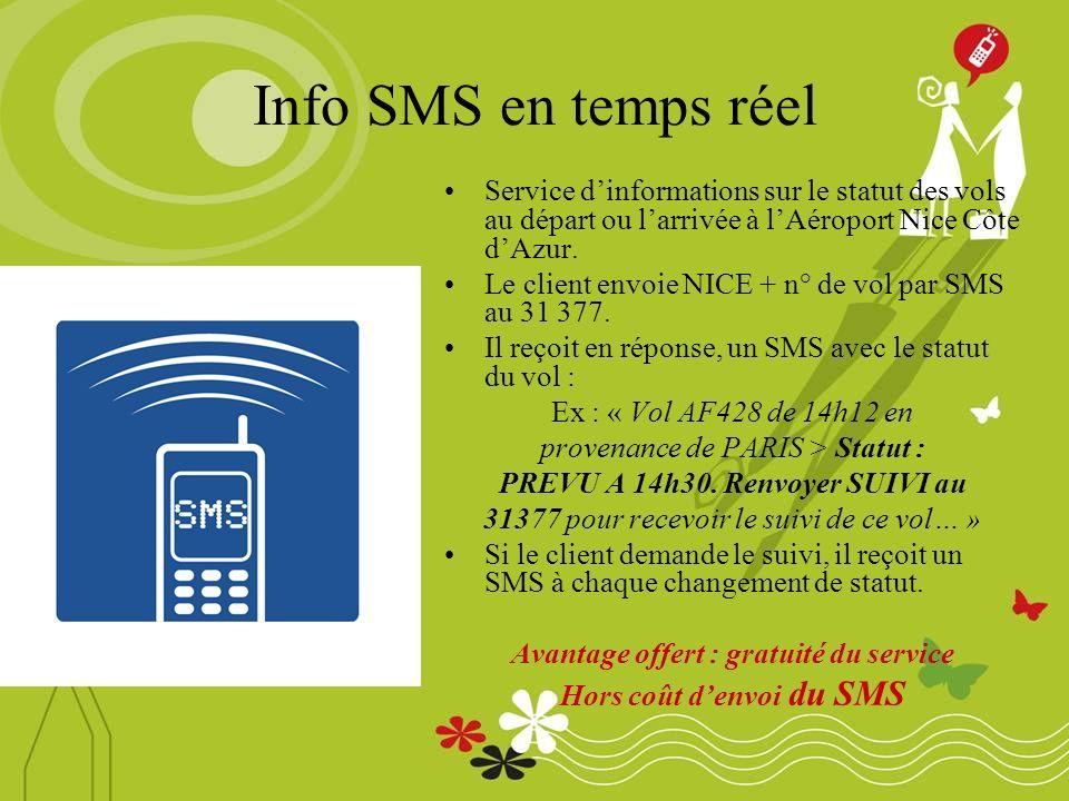Info SMS en temps réel Service dinformations sur le statut des vols au départ ou larrivée à lAéroport Nice Côte dAzur.