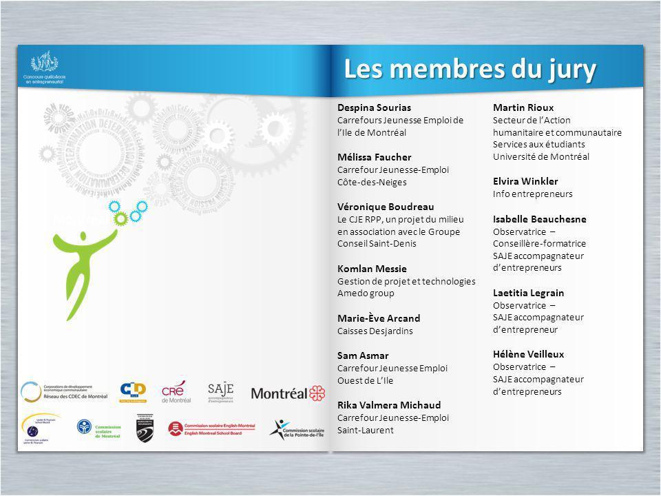 Les membres du jury Despina Sourias Carrefours Jeunesse Emploi de lIle de Montréal Mélissa Faucher Carrefour Jeunesse-Emploi Côte-des-Neiges Véronique