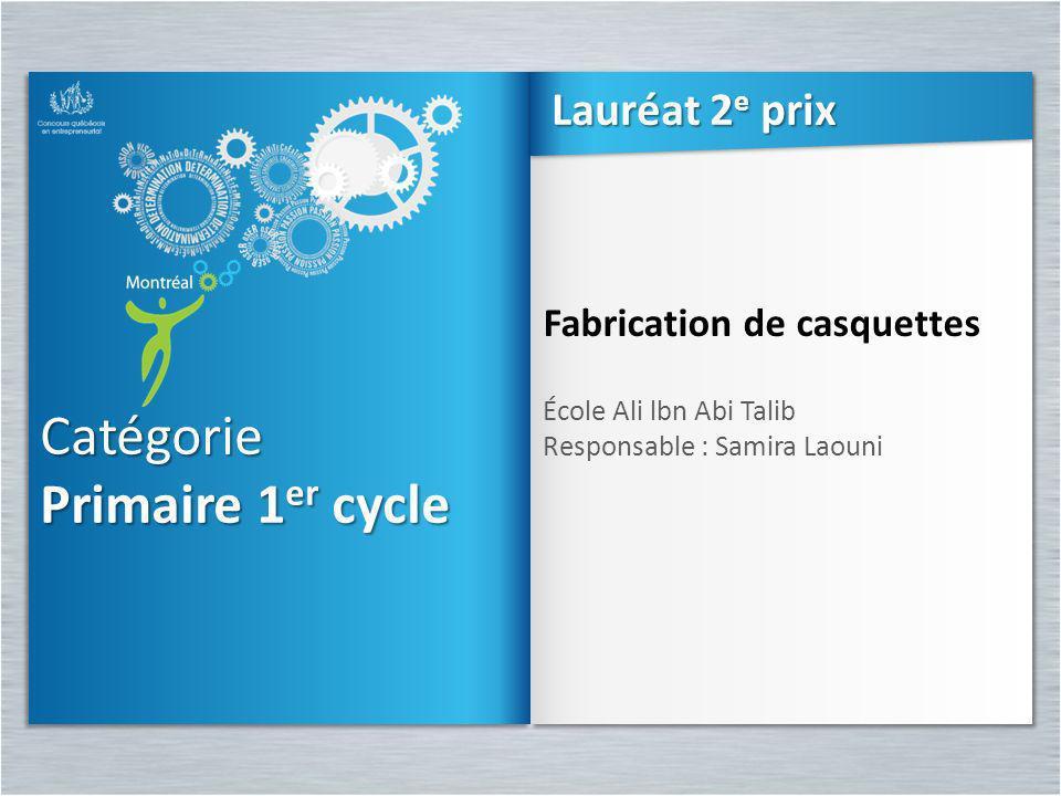 Catégorie Primaire 1 er cycle Catégorie Fabrication de casquettes École Ali lbn Abi Talib Responsable : Samira Laouni Fabrication de casquettes École