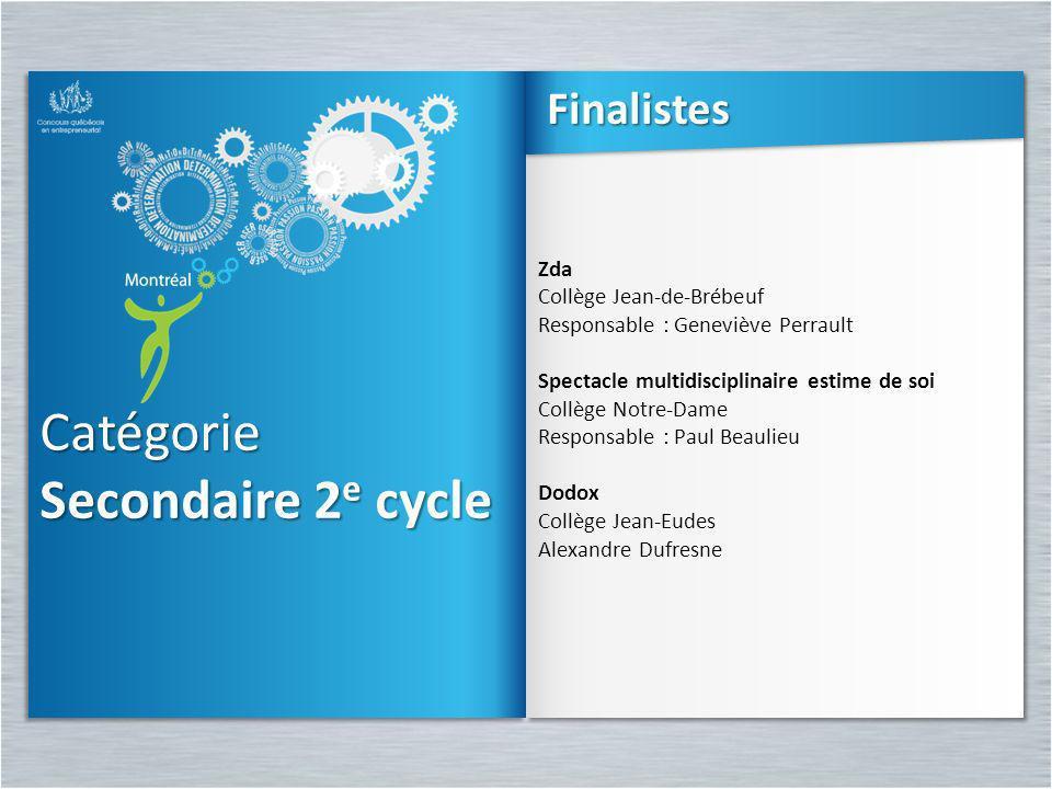Catégorie Secondaire 2 e cycle Catégorie Zda Collège Jean-de-Brébeuf Responsable : Geneviève Perrault Spectacle multidisciplinaire estime de soi Collè