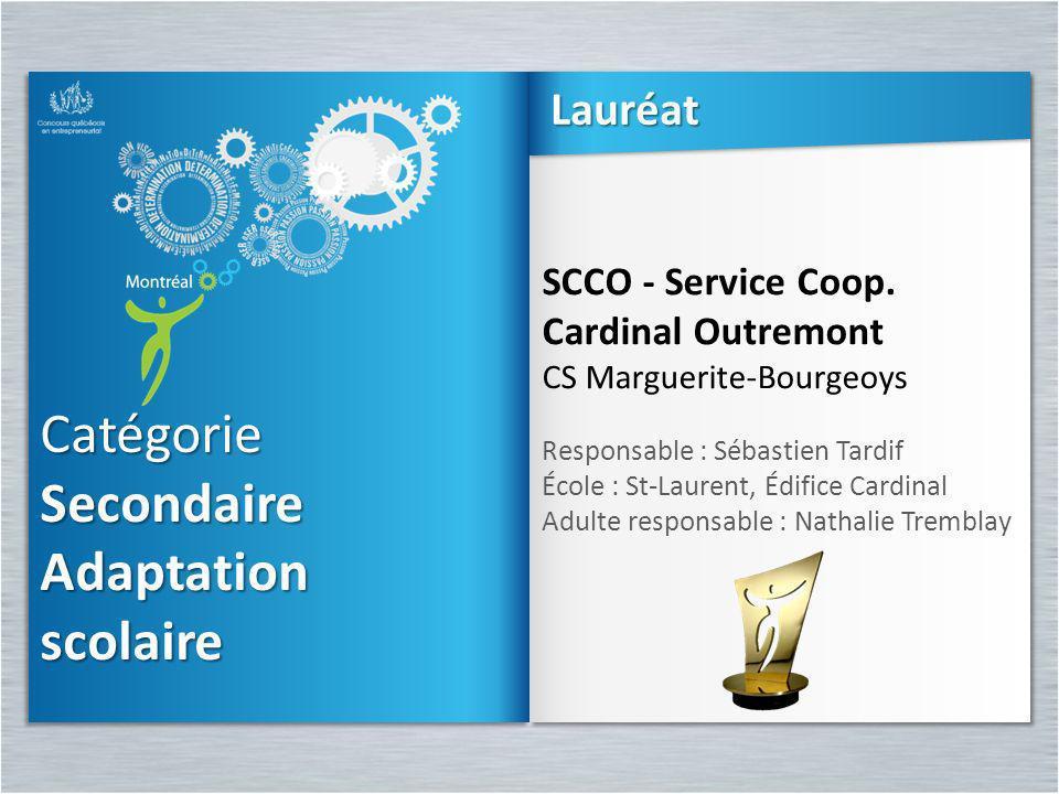 Catégorie Secondaire Adaptation scolaireCatégorie scolaire SCCO - Service Coop. Cardinal Outremont CS Marguerite-Bourgeoys Responsable : Sébastien Tar