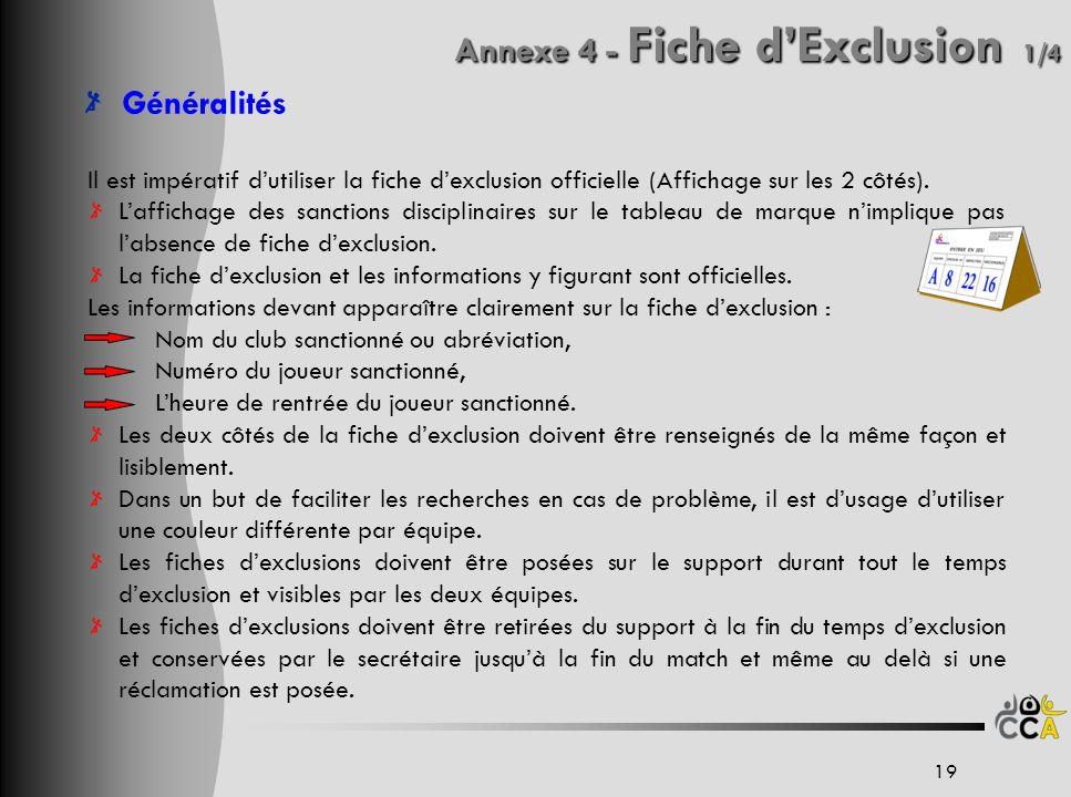 Annexe 4 - Fiche dExclusion 1/4 Généralités Il est impératif dutiliser la fiche dexclusion officielle (Affichage sur les 2 côtés). Laffichage des sanc