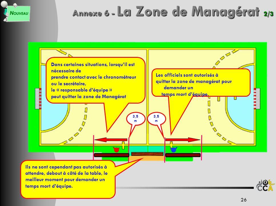 Annexe 6 - La Zone de Managérat 2/3 26 3,5 m Les officiels sont autorisés à quitter la zone de managérat pour demander un temps mort déquipe. Ils ne s