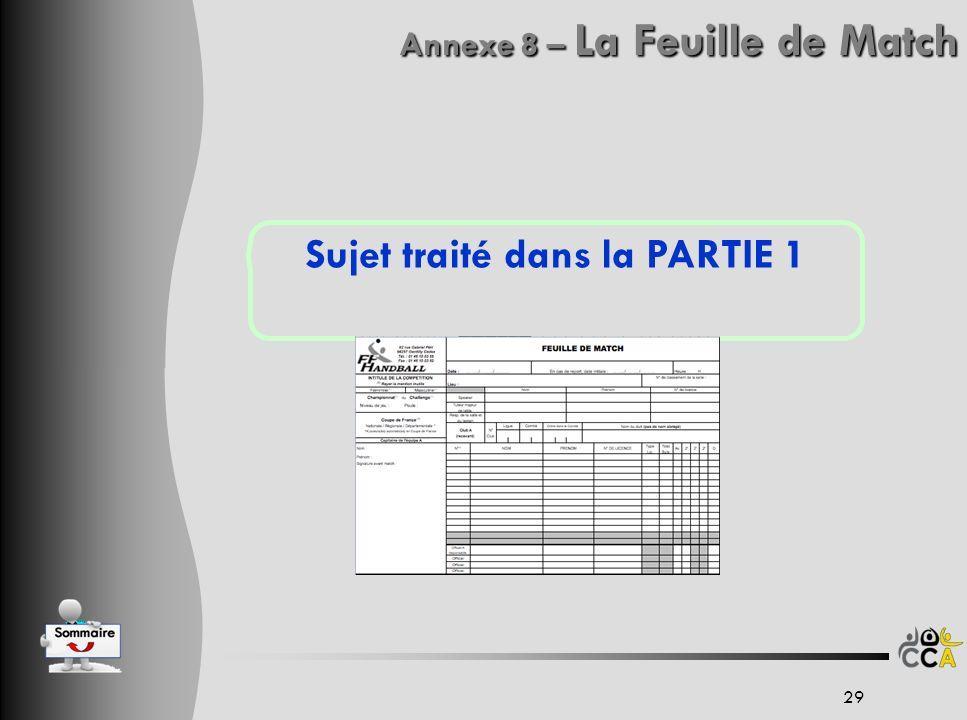 Annexe 8 – La Feuille de Match Sujet traité dans la PARTIE 1 29