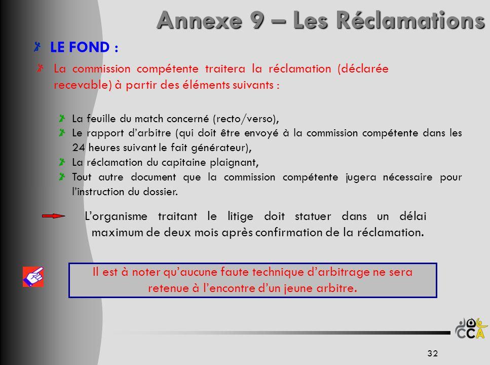 LE FOND : La commission compétente traitera la réclamation (déclarée recevable) à partir des éléments suivants : La feuille du match concerné (recto/v