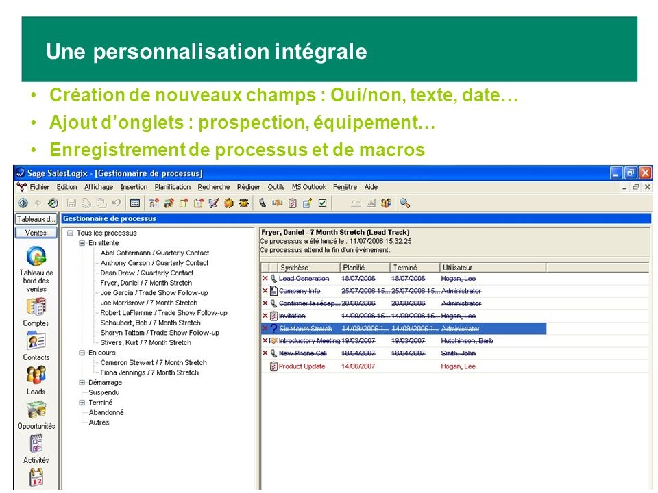 Création de nouveaux champs : Oui/non, texte, date… Ajout donglets : prospection, équipement… Enregistrement de processus et de macros Une personnalis