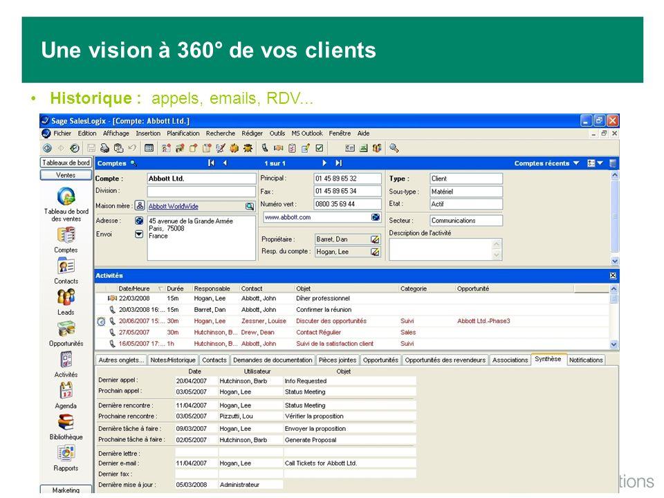 Historique : appels, emails, RDV... Une vision à 360° de vos clients