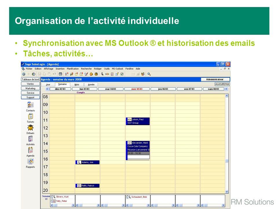 Synchronisation avec MS Outlook ® et historisation des emails Tâches, activités… Organisation de lactivité individuelle