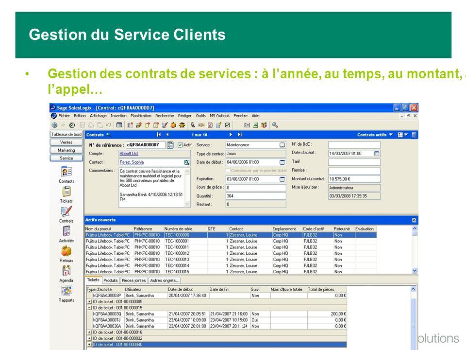 Gestion des contrats de services : à lannée, au temps, au montant, à lappel… Gestion du Service Clients