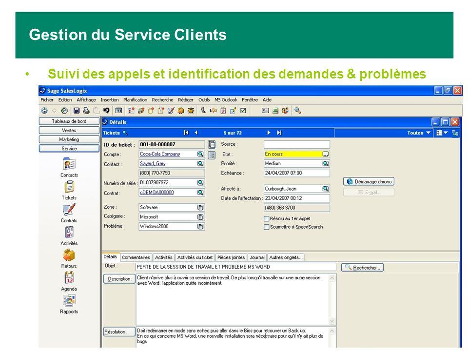 Suivi des appels et identification des demandes & problèmes Gestion du Service Clients