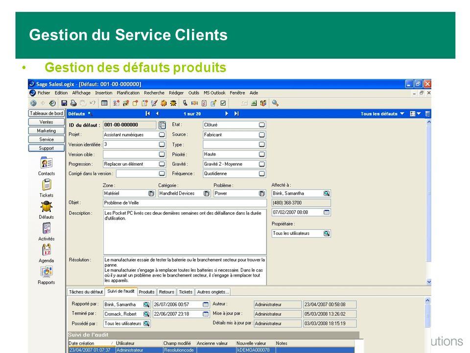 Gestion des défauts produits Gestion du Service Clients